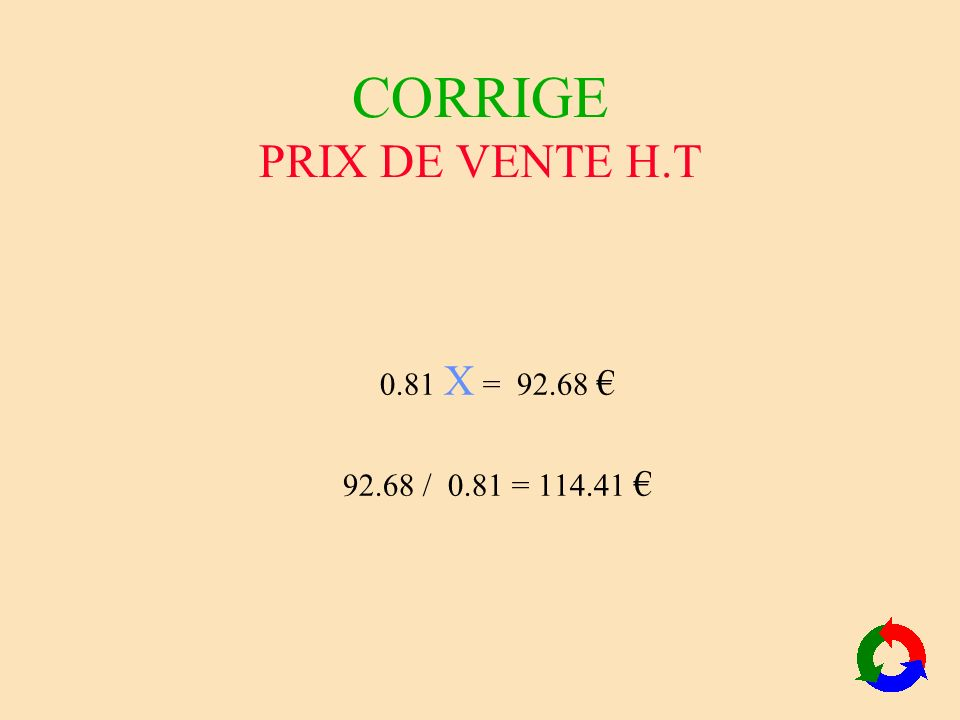 CORRIGE PRIX DE VENTE H.T 0.81 X = 92.68 92.68 / 0.81 = 114.41