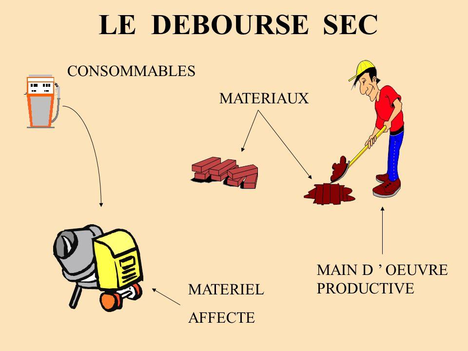 LE DEBOURSE SEC MAIN D OEUVRE PRODUCTIVE MATERIAUX MATERIEL AFFECTE CONSOMMABLES