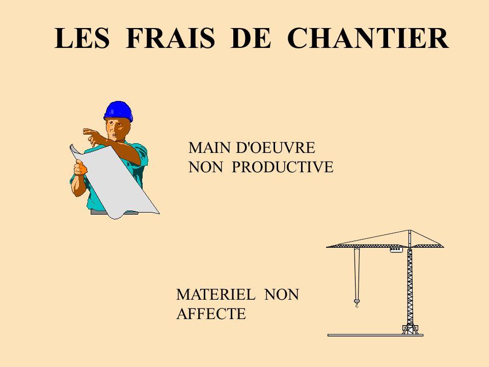 LES FRAIS DE CHANTIER MAIN D'OEUVRE NON PRODUCTIVE MATERIEL NON AFFECTE