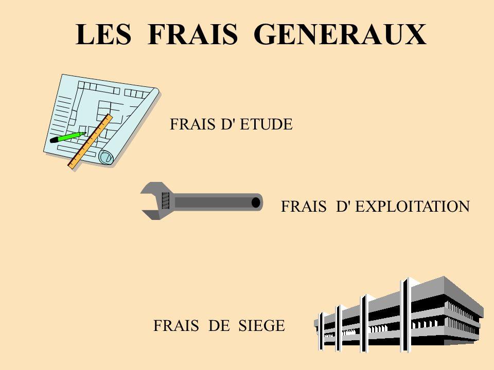 LES FRAIS GENERAUX FRAIS D' ETUDE FRAIS DE SIEGE FRAIS D' EXPLOITATION
