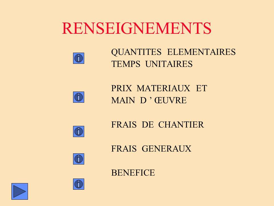 RENSEIGNEMENTS QUANTITES ELEMENTAIRES TEMPS UNITAIRES PRIX MATERIAUX ET MAIN D ŒUVRE FRAIS DE CHANTIER FRAIS GENERAUX BENEFICE