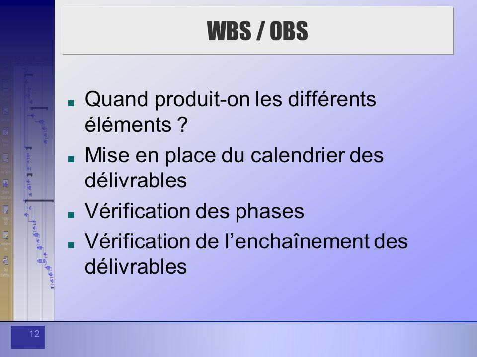 12 WBS / OBS Quand produit-on les différents éléments ? Mise en place du calendrier des délivrables Vérification des phases Vérification de lenchaînem