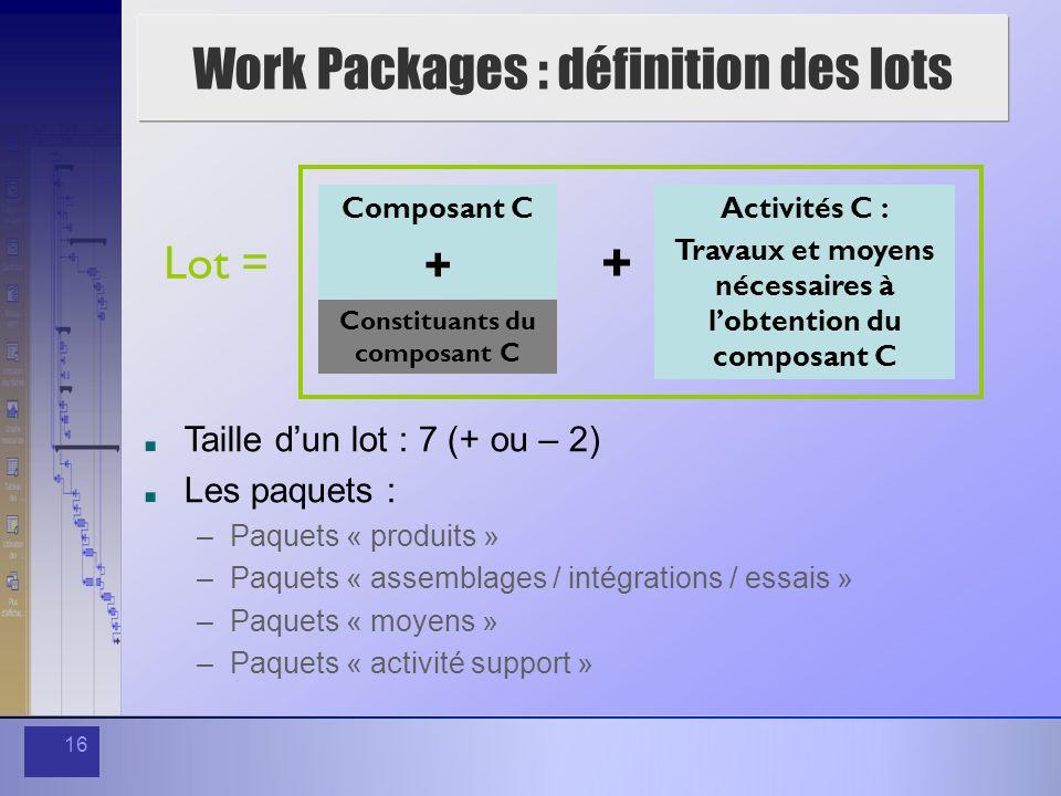 16 Work Packages : définition des lots Lot = Composant C + Constituants du composant C + Activités C : Travaux et moyens nécessaires à lobtention du c