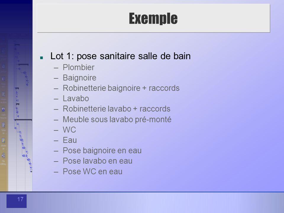 17 Exemple Lot 1: pose sanitaire salle de bain –Plombier –Baignoire –Robinetterie baignoire + raccords –Lavabo –Robinetterie lavabo + raccords –Meuble