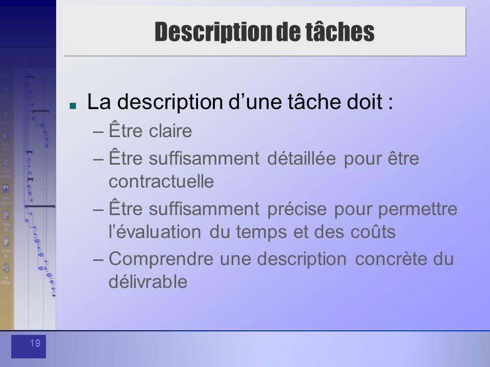 19 Description de tâches La description dune tâche doit : –Être claire –Être suffisamment détaillée pour être contractuelle –Être suffisamment précise