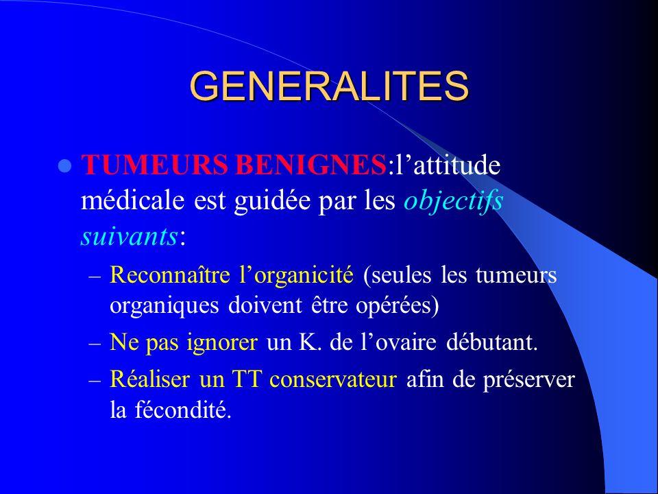 GENERALITES TUMEURS BENIGNES:lattitude médicale est guidée par les objectifs suivants: – Reconnaître lorganicité (seules les tumeurs organiques doiven