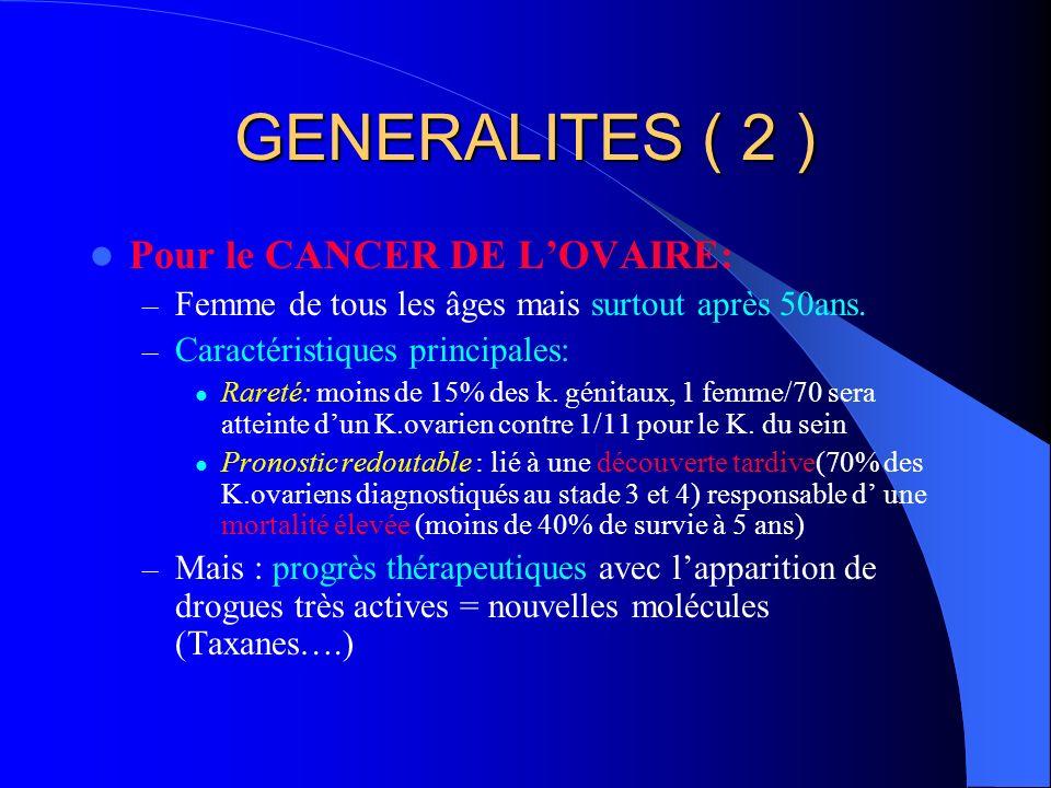 GENERALITES ( 2 ) Pour le CANCER DE LOVAIRE: – Femme de tous les âges mais surtout après 50ans. – Caractéristiques principales: Rareté: moins de 15% d