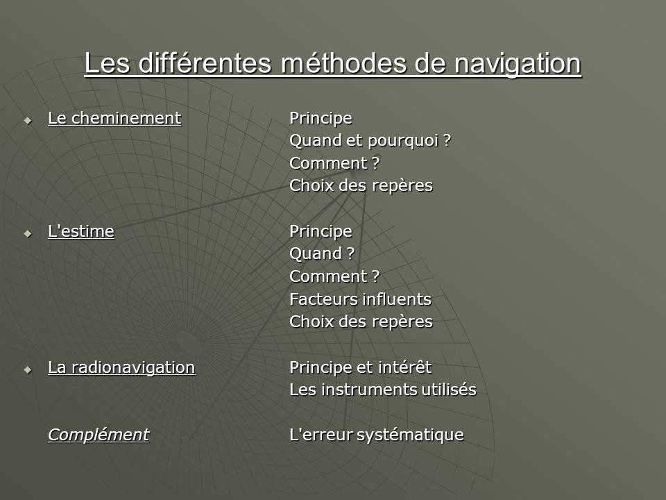 Les différentes méthodes de navigation Le cheminementPrincipe Le cheminementPrincipe Quand et pourquoi ? Comment ? Choix des repères L'estimePrincipe