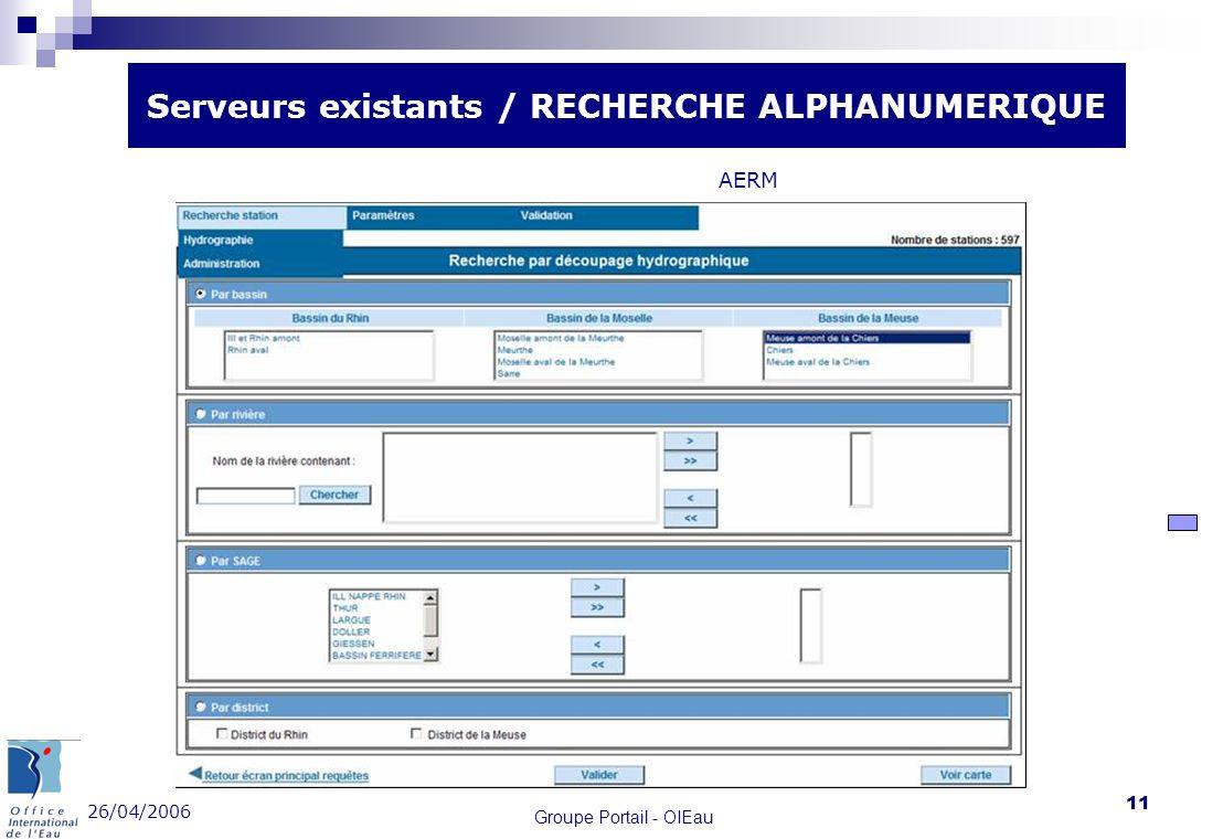 26/04/2006 Groupe Portail - OIEau 11 Serveurs existants / RECHERCHE ALPHANUMERIQUE AERM