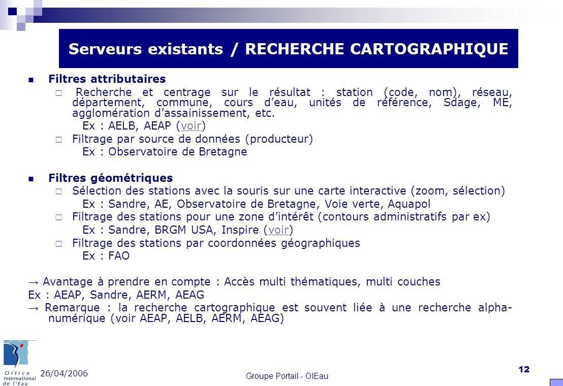 26/04/2006 Groupe Portail - OIEau 12 Filtres attributaires Recherche et centrage sur le résultat : station (code, nom), réseau, département, commune,