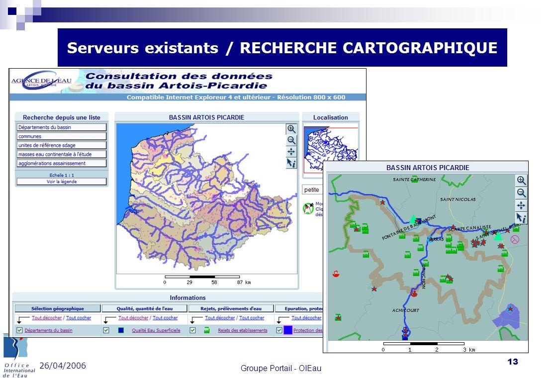 26/04/2006 Groupe Portail - OIEau 13 Serveurs existants / RECHERCHE CARTOGRAPHIQUE