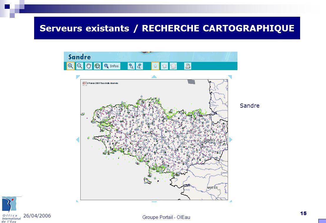 26/04/2006 Groupe Portail - OIEau 15 Serveurs existants / RECHERCHE CARTOGRAPHIQUE Sandre