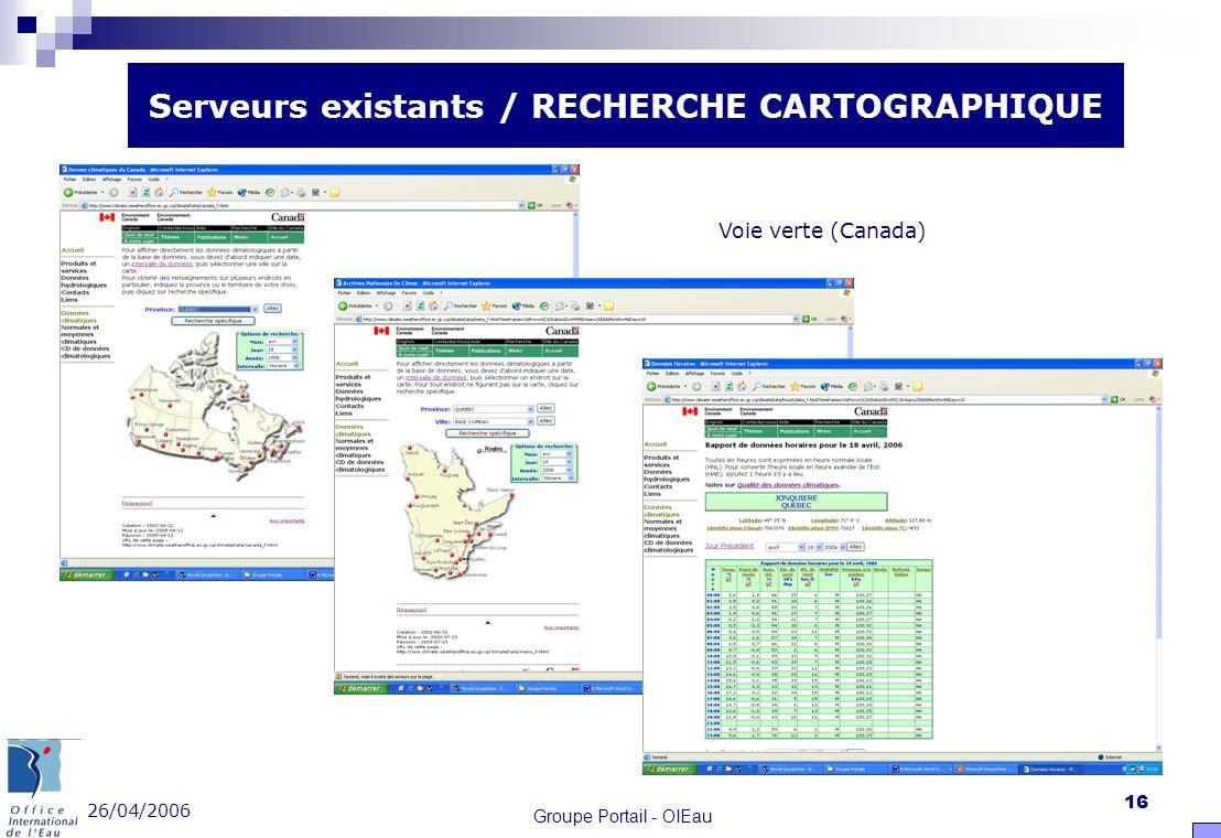 26/04/2006 Groupe Portail - OIEau 16 Serveurs existants / RECHERCHE CARTOGRAPHIQUE Voie verte (Canada)
