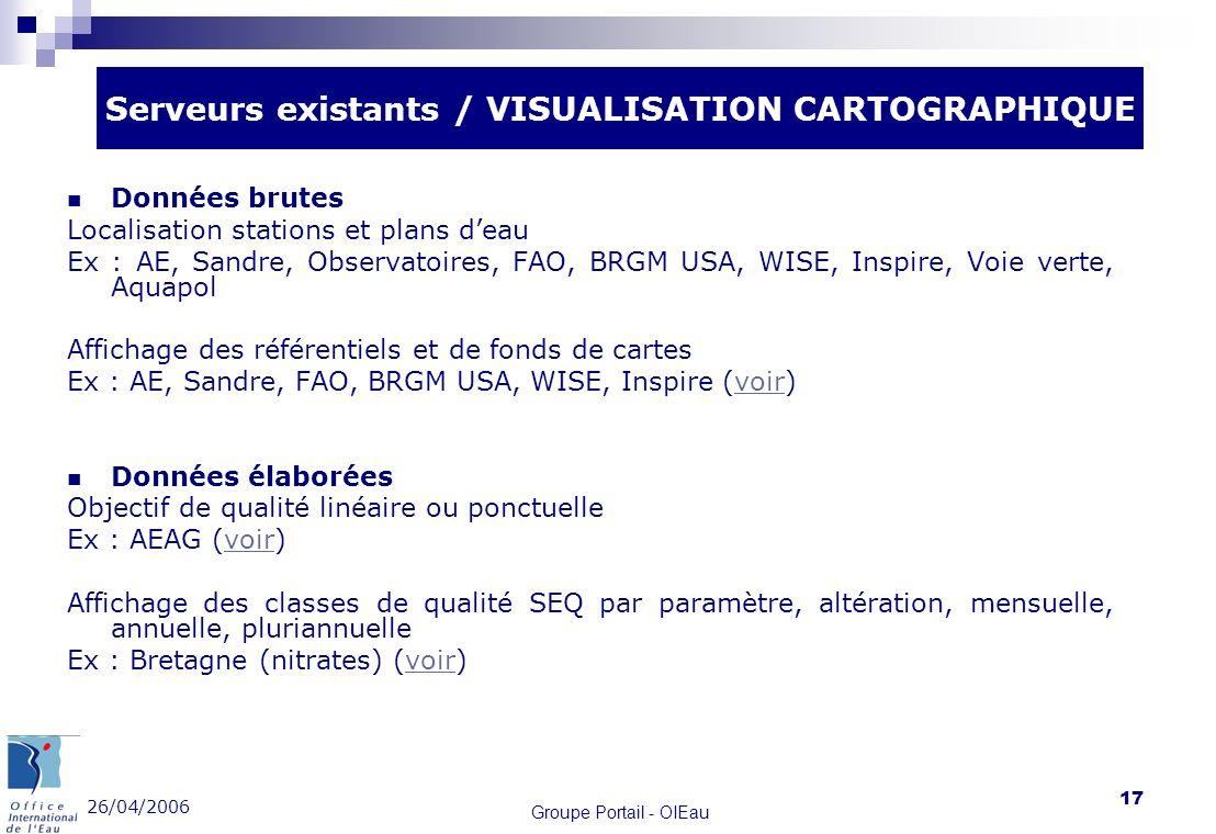 26/04/2006 Groupe Portail - OIEau 17 Données brutes Localisation stations et plans deau Ex : AE, Sandre, Observatoires, FAO, BRGM USA, WISE, Inspire,