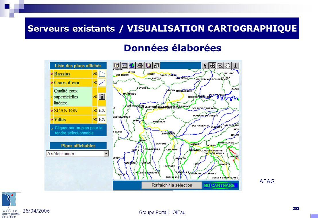 26/04/2006 Groupe Portail - OIEau 20 Serveurs existants / VISUALISATION CARTOGRAPHIQUE Données élaborées AEAG