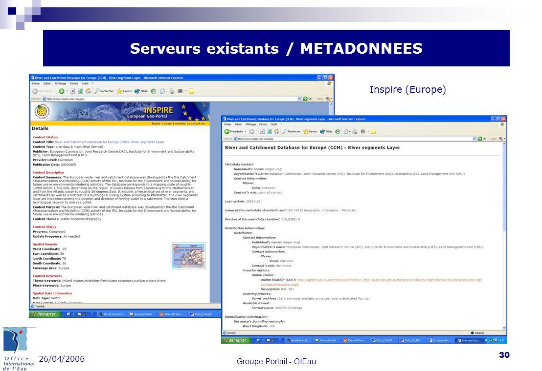 26/04/2006 Groupe Portail - OIEau 30 Serveurs existants / METADONNEES Inspire (Europe)