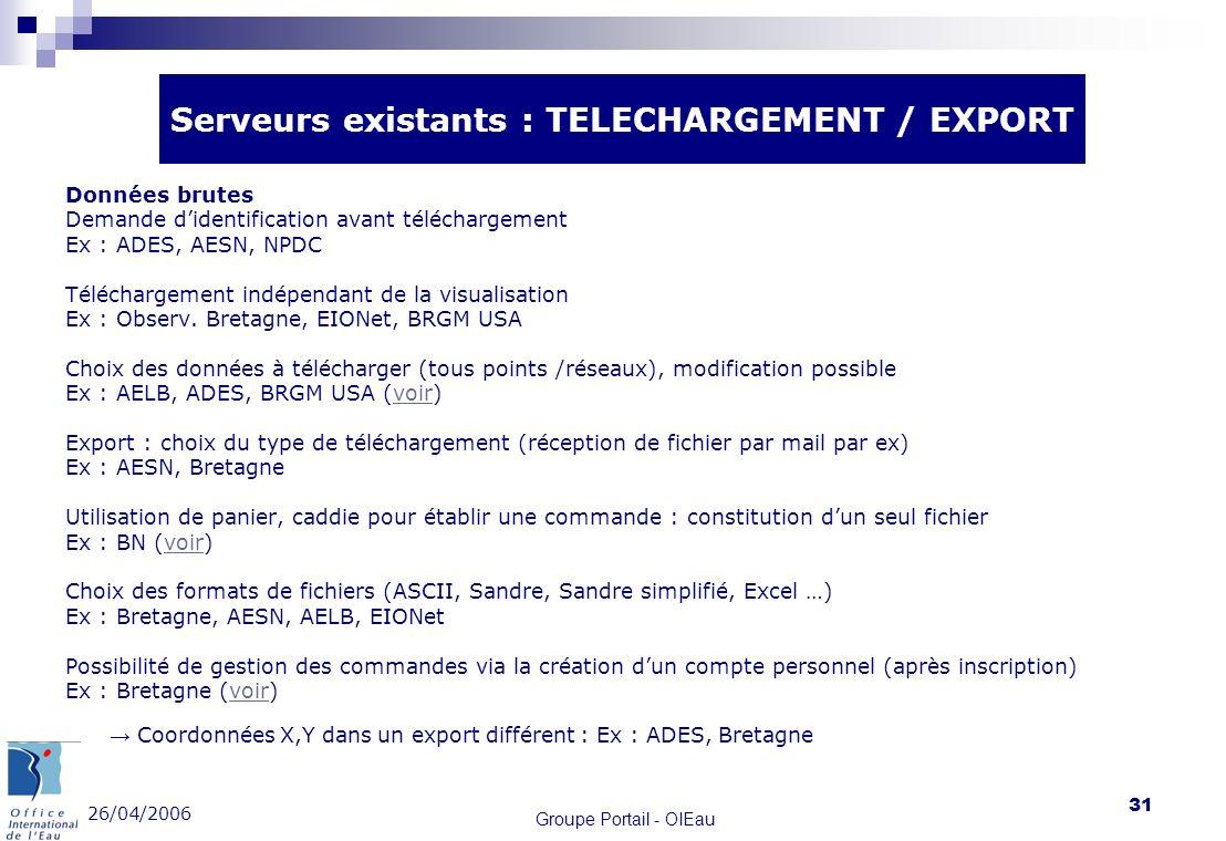 26/04/2006 Groupe Portail - OIEau 31 Données brutes Demande didentification avant téléchargement Ex : ADES, AESN, NPDC Téléchargement indépendant de l