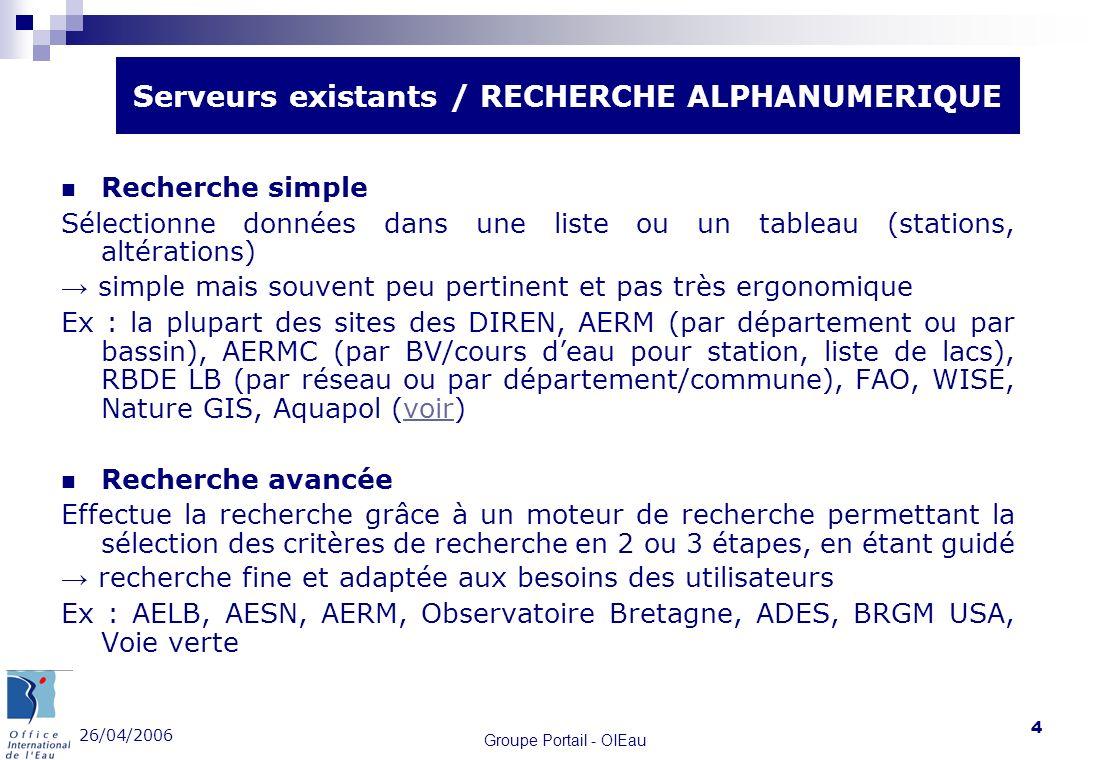 26/04/2006 Groupe Portail - OIEau 4 Recherche simple Sélectionne données dans une liste ou un tableau (stations, altérations) simple mais souvent peu