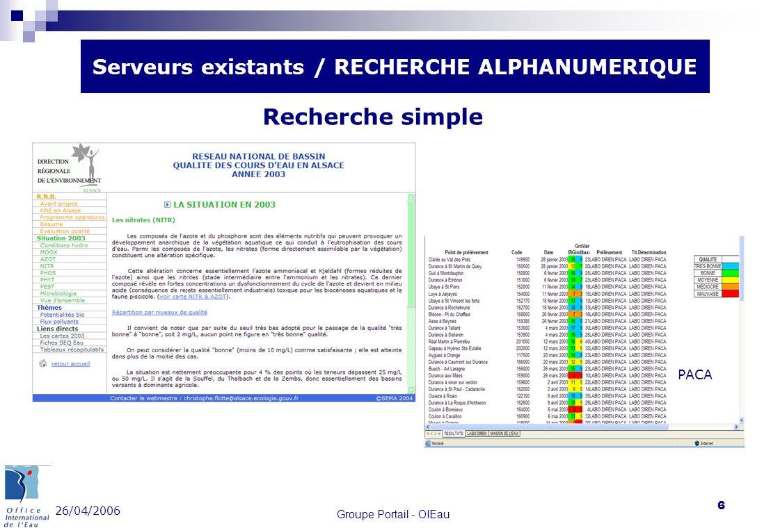 26/04/2006 Groupe Portail - OIEau 6 Serveurs existants / RECHERCHE ALPHANUMERIQUE PACA Recherche simple