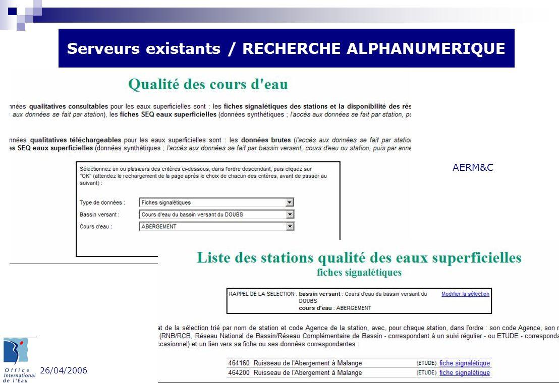 26/04/2006 Groupe Portail - OIEau 7 Serveurs existants / RECHERCHE ALPHANUMERIQUE AERMC AERM&C