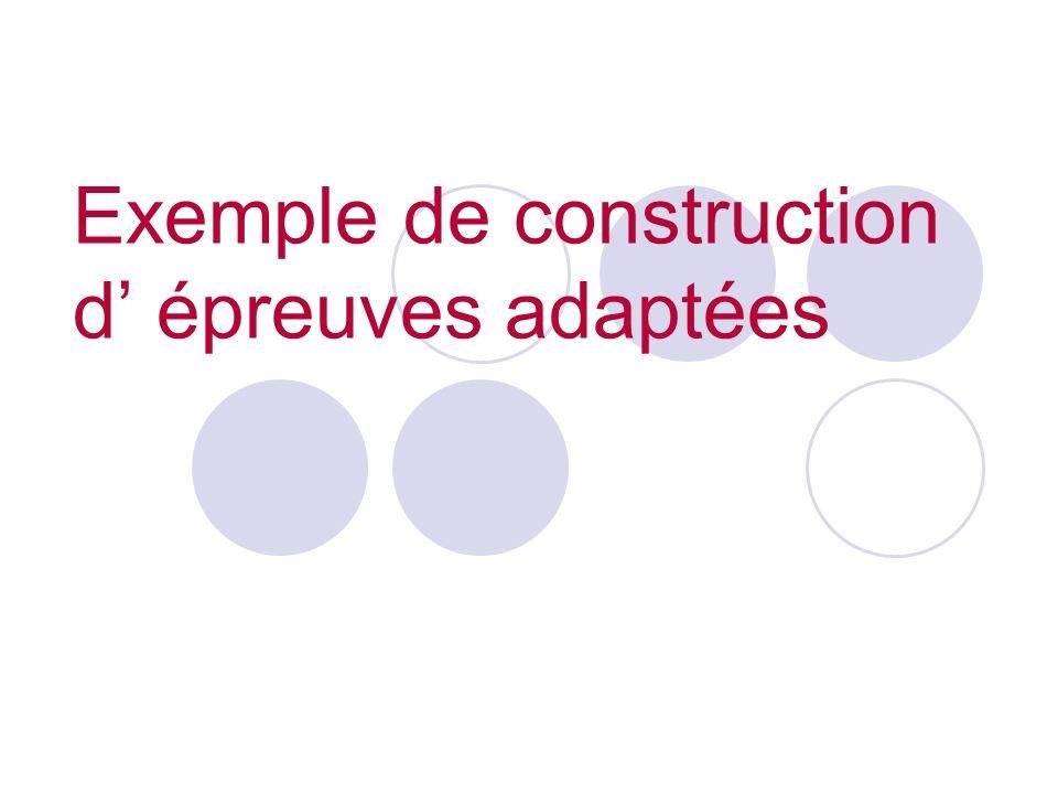 Exemple de construction d épreuves adaptées