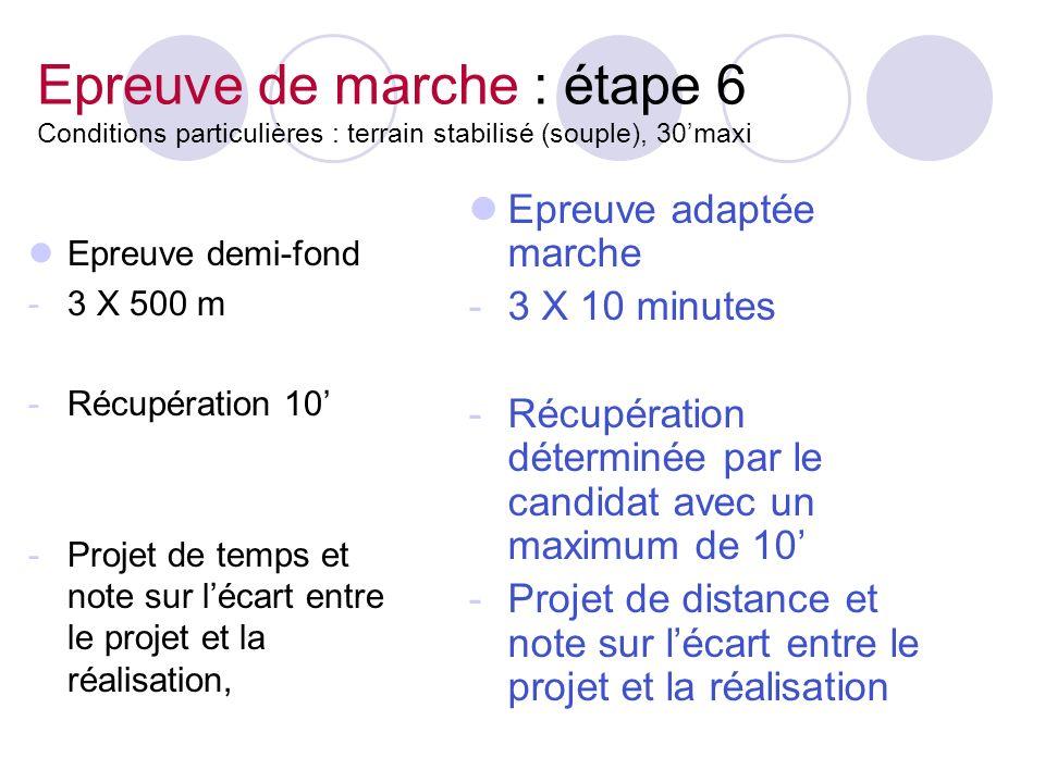 Epreuve de marche : étape 6 Conditions particulières : terrain stabilisé (souple), 30maxi Epreuve demi-fond -3 X 500 m -Récupération 10 -Projet de tem