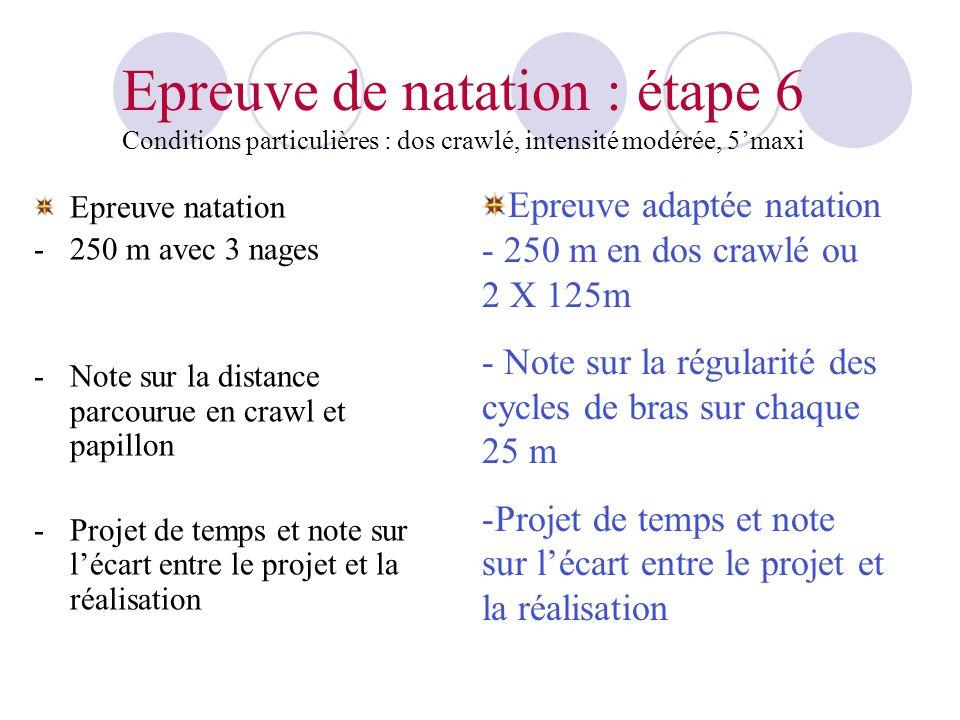 Epreuve de natation : étape 6 Conditions particulières : dos crawlé, intensité modérée, 5maxi Epreuve natation -250 m avec 3 nages -Note sur la distan