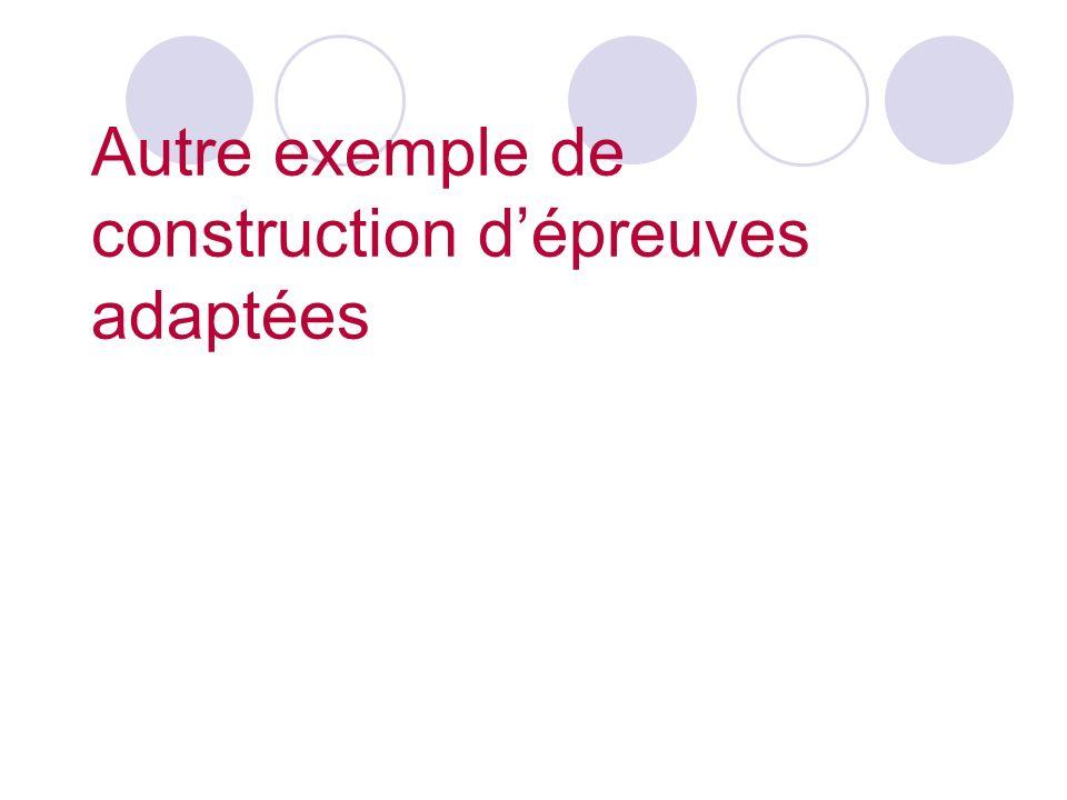 Autre exemple de construction dépreuves adaptées