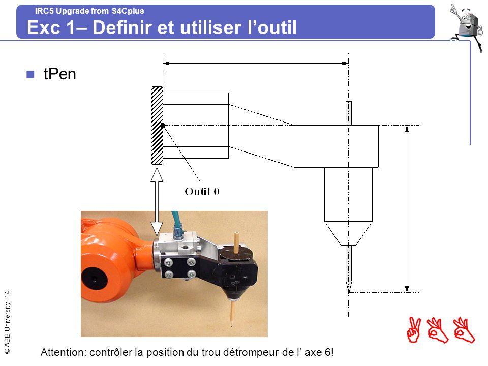 © ABB University -14 ABB IRC5 Upgrade from S4Cplus Exc 1– Definir et utiliser loutil tPen Attention: contrôler la position du trou détrompeur de l axe