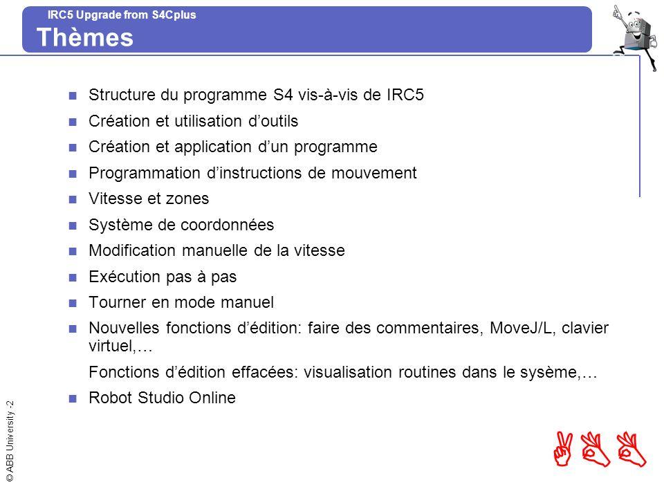 © ABB University -2 ABB IRC5 Upgrade from S4Cplus Thèmes Structure du programme S4 vis-à-vis de IRC5 Création et utilisation doutils Création et appli