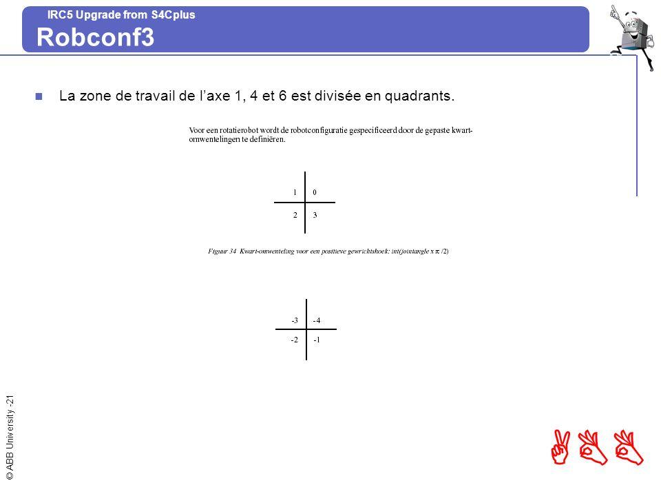 © ABB University -21 ABB IRC5 Upgrade from S4Cplus Robconf3 La zone de travail de laxe 1, 4 et 6 est divisée en quadrants.
