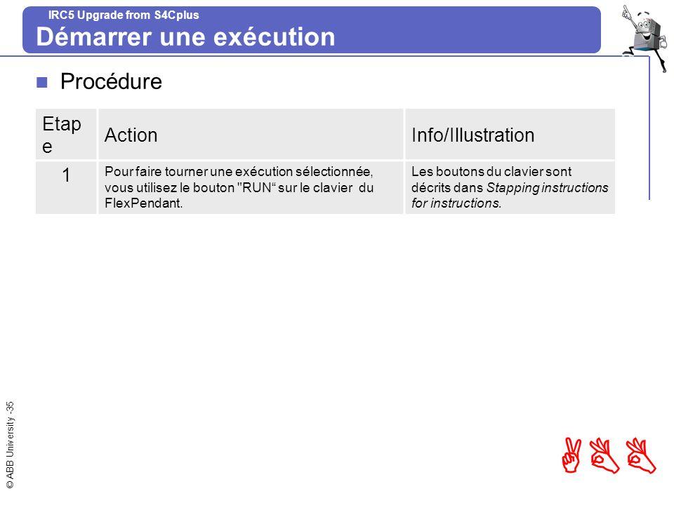 © ABB University -35 ABB IRC5 Upgrade from S4Cplus Démarrer une exécution Procédure Etap e ActionInfo/Illustration 1 Pour faire tourner une exécution