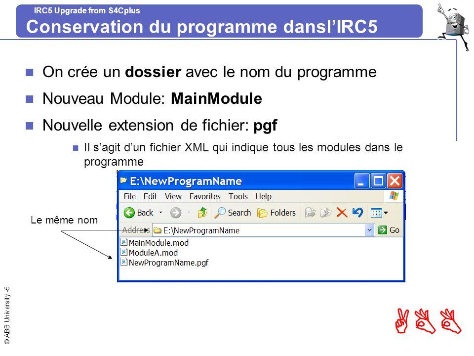 © ABB University -5 ABB IRC5 Upgrade from S4Cplus Conservation du programme danslIRC5 On crée un dossier avec le nom du programme Nouveau Module: Main
