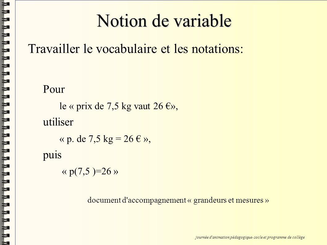 Notion de variable Travailler le vocabulaire et les notations: Pour le « prix de 7,5 kg vaut 26 », utiliser « p.