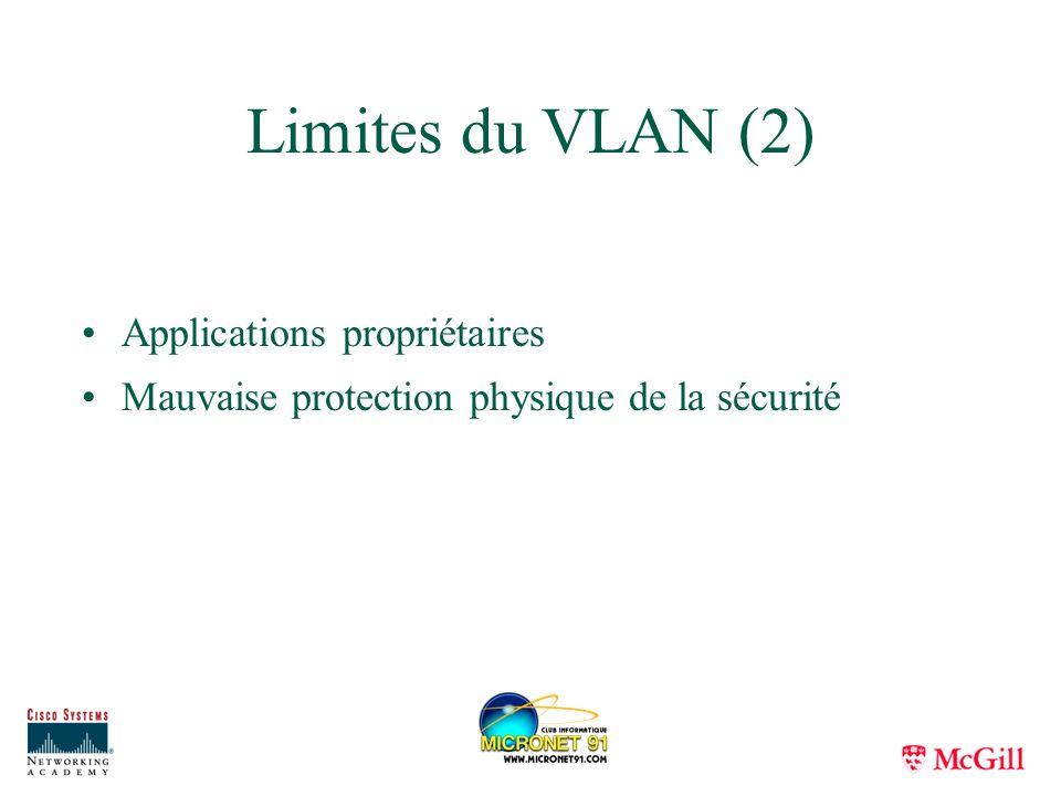 Limites du VLAN (2) Applications propriétaires Mauvaise protection physique de la sécurité