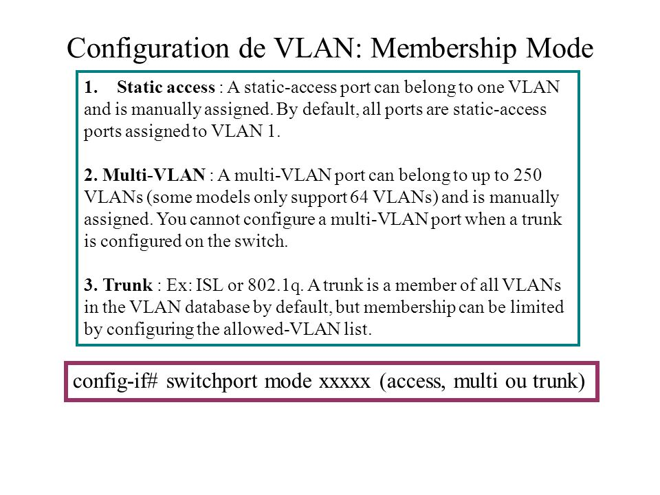 Configuration de VLAN: Membership Mode 1.Static access : A static-access port can belong to one VLAN and is manually assigned. By default, all ports a