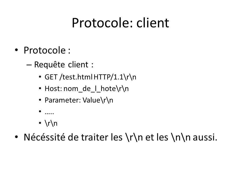Protocole: client Protocole : – Requête client : GET /test.html HTTP/1.1\r\n Host: nom_de_l_hote\r\n Parameter: Value\r\n ….. \r\n Nécéssité de traite