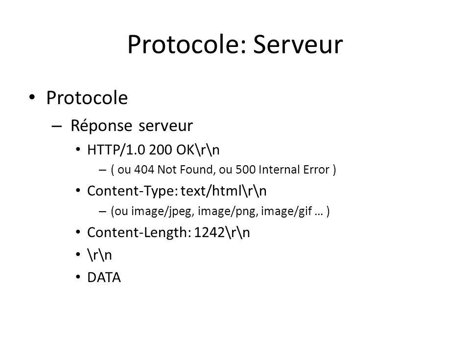 Protocole: Serveur Protocole – Réponse serveur HTTP/1.0 200 OK\r\n – ( ou 404 Not Found, ou 500 Internal Error ) Content-Type: text/html\r\n – (ou ima