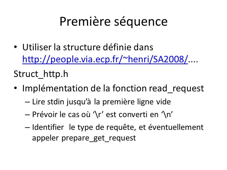 Première séquence Utiliser la structure définie dans http://people.via.ecp.fr/~henri/SA2008/.... http://people.via.ecp.fr/~henri/SA2008/ Struct_http.h