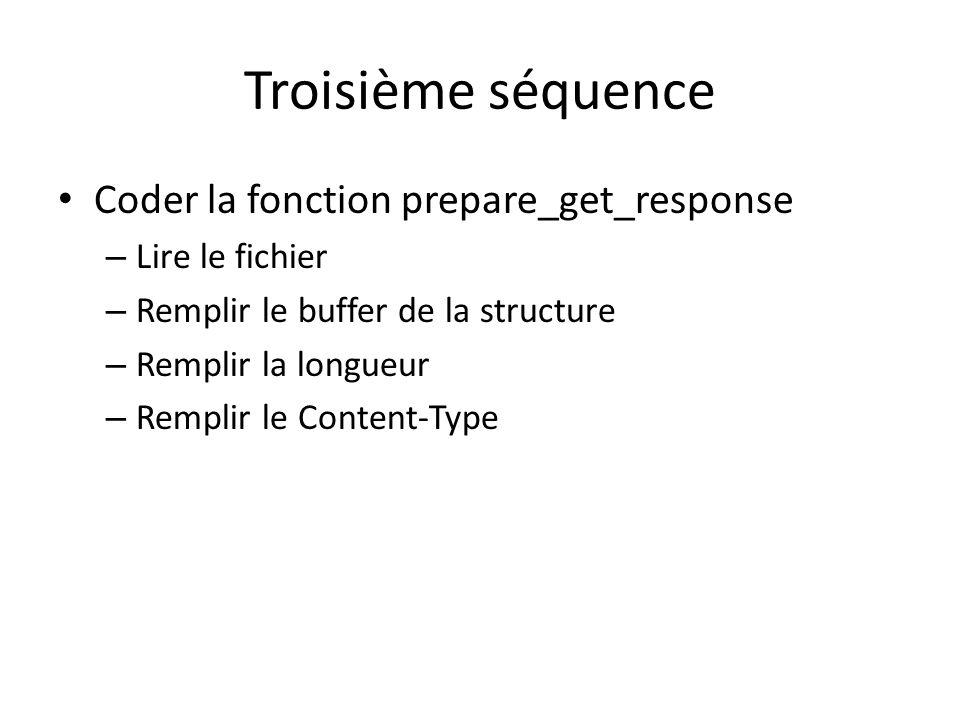 Troisième séquence Coder la fonction prepare_get_response – Lire le fichier – Remplir le buffer de la structure – Remplir la longueur – Remplir le Con