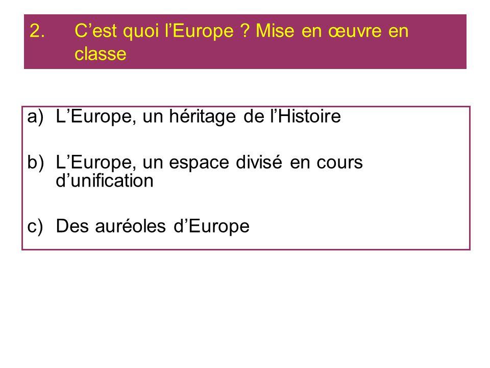 a)LEurope, un héritage de lHistoire b)LEurope, un espace divisé en cours dunification c)Des auréoles dEurope 2.Cest quoi lEurope ? Mise en œuvre en cl