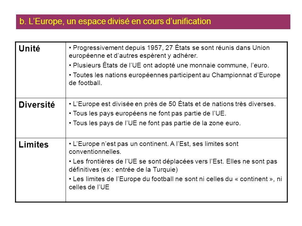Unité Progressivement depuis 1957, 27 États se sont réunis dans Union européenne et dautres espèrent y adhérer.