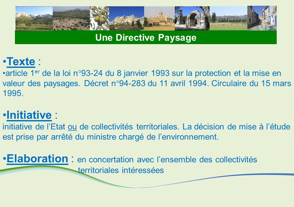 Loi Paysage du 8 janvier 1993 Article L350-1 du code de lenvironnement Les directives paysagères « déterminent les orientations et les principes fondamentaux de protection des structures paysagères qui sont applicables à ces territoires » Art.