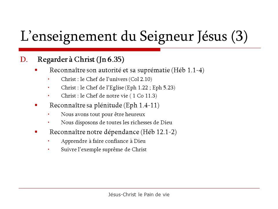 Jésus-Christ le Pain de vie Lenseignement du Seigneur Jésus (3) D.Regarder à Christ (Jn 6.35) Reconnaître son autorité et sa suprématie (Héb 1.1-4) Ch