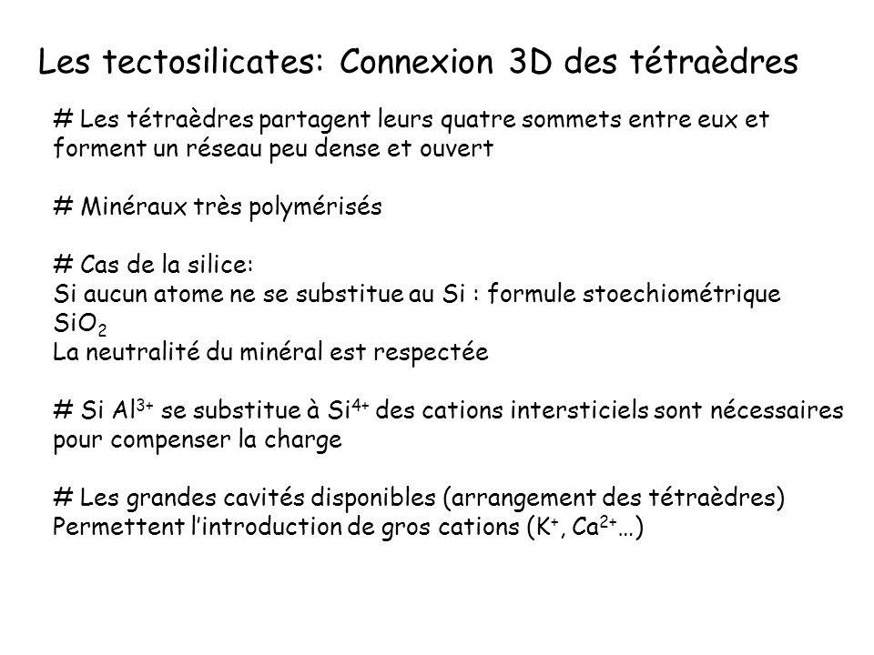 Les Alumino-silicates à tétraèdres en réseau 3D: les feldspaths - substitution couplée: 1Si = 1Al+alcalin 2Si = 1Al+alc.terreux -feldspaths alcalins: Na-K - feldspaths calco-sodiques: plagioclases Haute température
