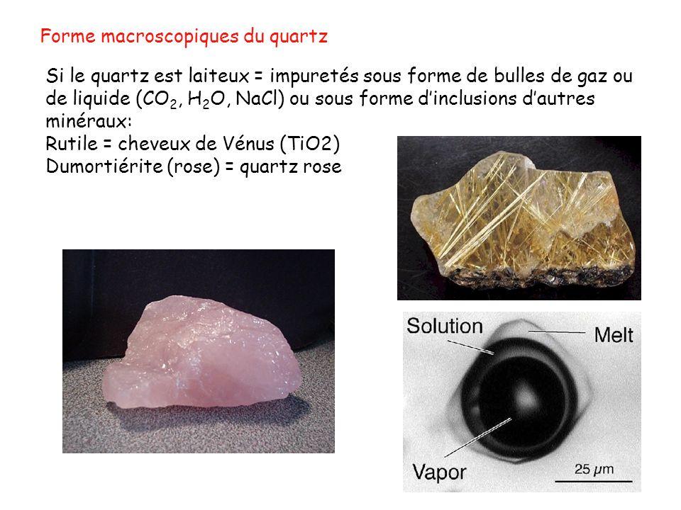 Si le quartz est laiteux = impuretés sous forme de bulles de gaz ou de liquide (CO 2, H 2 O, NaCl) ou sous forme dinclusions dautres minéraux: Rutile