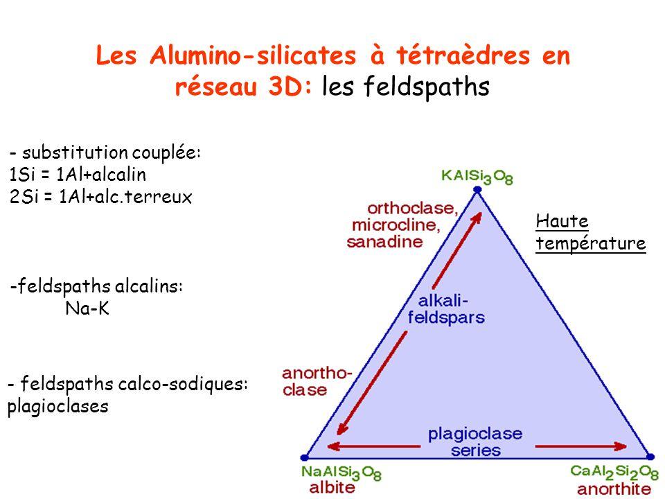 Les Alumino-silicates à tétraèdres en réseau 3D: les feldspaths - substitution couplée: 1Si = 1Al+alcalin 2Si = 1Al+alc.terreux -feldspaths alcalins: