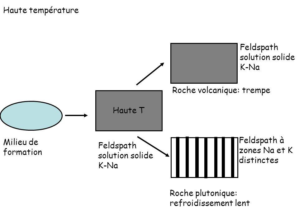 Feldspath solution solide K-Na Haute T Milieu de formation Haute température Feldspath à zones Na et K distinctes Feldspath solution solide K-Na Roche