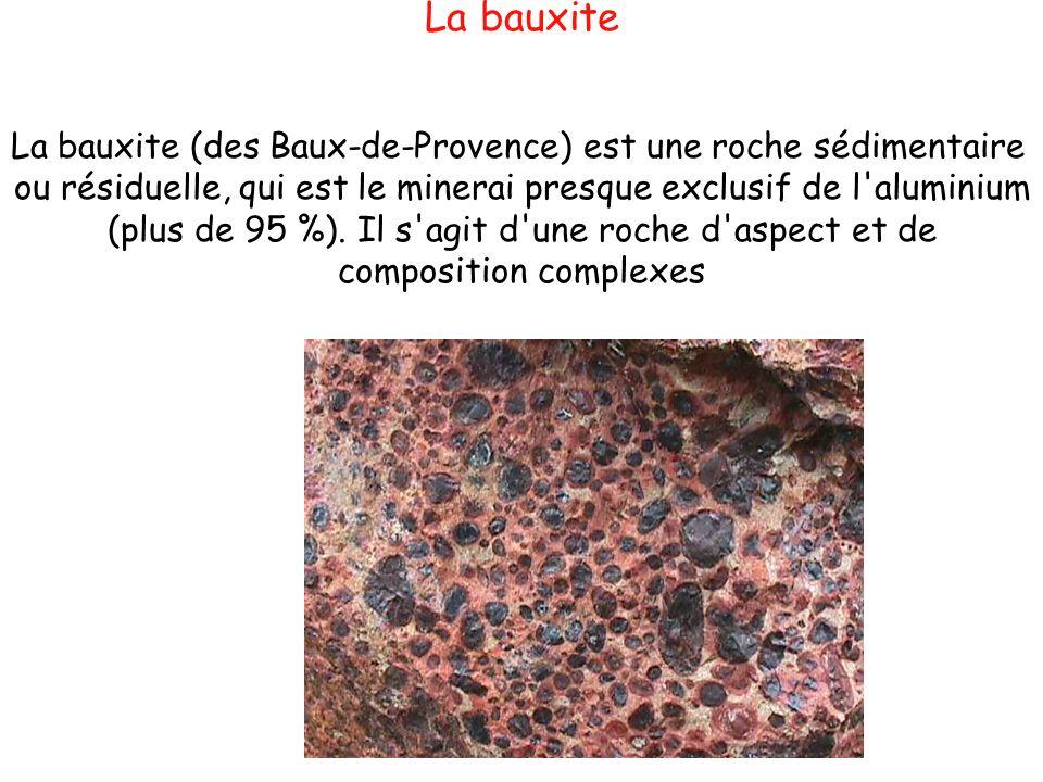 La bauxite La bauxite (des Baux-de-Provence) est une roche sédimentaire ou résiduelle, qui est le minerai presque exclusif de l'aluminium (plus de 95