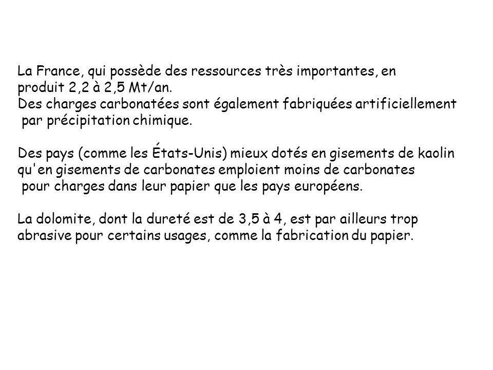 La France, qui possède des ressources très importantes, en produit 2,2 à 2,5 Mt/an. Des charges carbonatées sont également fabriquées artificiellement
